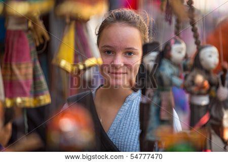 A young girl in a souvenir shop in Kathmandu.