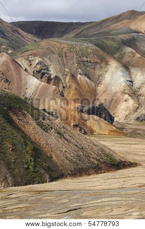 Volcanic Landscape With Rhyolite Formations In Iceland.