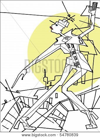 Abstract  female  standing on the roof .City background.Vector