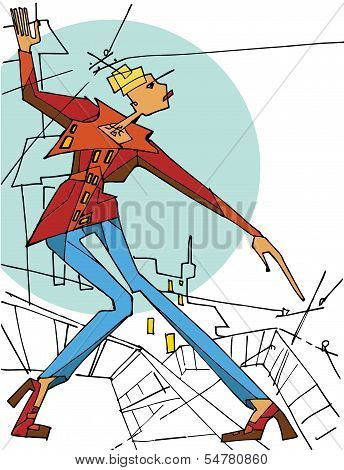 Abstract  Girl Standing On The Roof On A City. Vector Illustration.