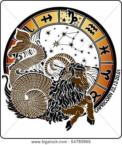 Capricorn And The Zodiac Sign.Horoscope Circle.Vector