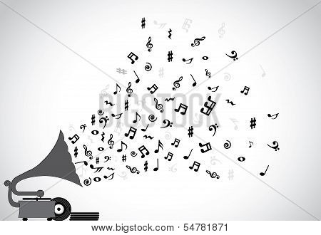 Gramophone Silhouette Playing Slow Soothing Music And Different Notes Flowing Out Of The Speaker poster