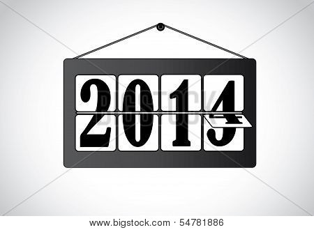 Bright White And Black Hinging Calander Year Changed From 2013 To 2014 : Concent Design Vector