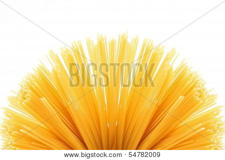 Fan of raw pasta spaghetti macaroni