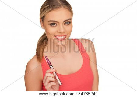 Young Woman Smoking E-cigarette on white background