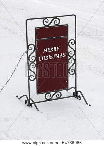 Board With Merry Christmas Congratulation