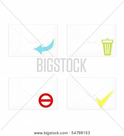 White Closed Envelopes With Trash Mark Icon Set