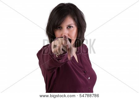 Middle Aged Woman Looking And Pointing At You