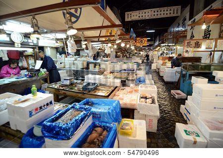 Tokyo - Nov 26: Seafood Vendors At The Tsukiji Wholesale Seafood And Fish Market In Tokyo Japan