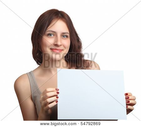 Smiling, Caucasian Woman 18 Years Old, Shows Blank Sign Board.