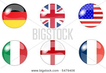 set of buttons with flag
