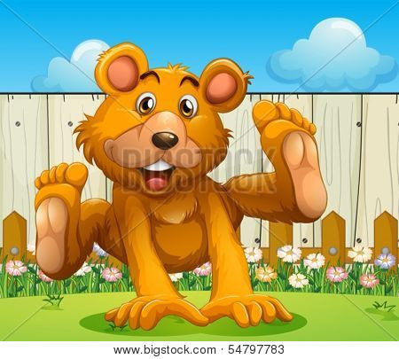 Illustration of a bear playing near the wooden fence