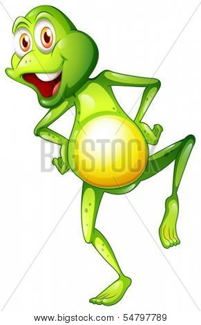 Illustration of a playful frog on a white background