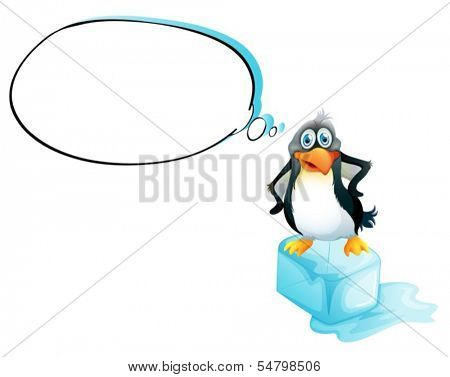 Illustration of a penguin standing above an ice cube on a white background
