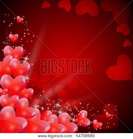 Valentines Day Card with Heart Shaped Balloons, Vector Illustrat