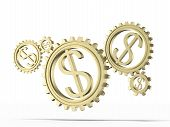 picture of gold tooth  - gears with a gold dollar sign isolated on a white background - JPG