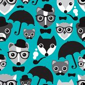 stock photo of skunks  - Seamless umbrella hipster owl skunk and fox illustration background pattern in vector - JPG