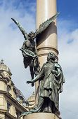 foto of erection  - Adam Mickiewicz Column was erected in 1904 in Lviv downtown Ukraine - JPG