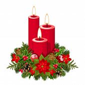 image of poinsettias  - Vector illustration of three red Christmas candles with fir branches - JPG