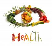 image of eatables  - studio photography of eye made from different fruits and vegetables  - JPG