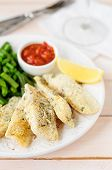 Lemon Semolina Crusted Fish Fries With Green Beans And Marinara Sauce, Copy Space For Your Text