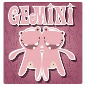 stock photo of gemini  - Zodiac sign Gemini with cute colorful monster - JPG