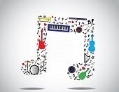 pic of drums  - music note icon made up of different musical instruments and notes with a bright white background  - JPG