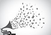 stock photo of speaker  - Gramophone silhouette playing slow soothing music and different notes flowing out of the speaker with more discs placed next to the player - JPG