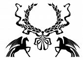 stock photo of winged-horse  - Winged horses with laurel wreath for heraldry design - JPG