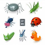 image of caterpillar cartoon  - Cartoon bugs set - JPG