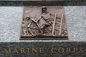 Marine corps 3D relief art sculpture in San Francisco