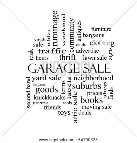 Garage Sale Word Cloud Concept In Black And White