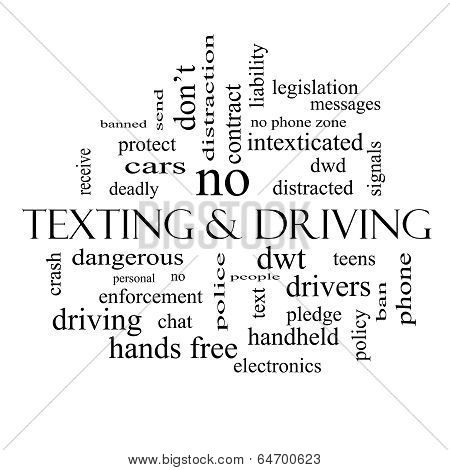 Texting And Driving Word Cloud Concept In Black And White