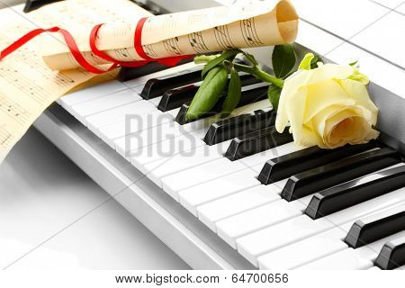 background of synthesizer keyboard with flower