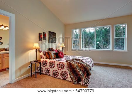 Master Bedroom With High Vaulted Ceiling