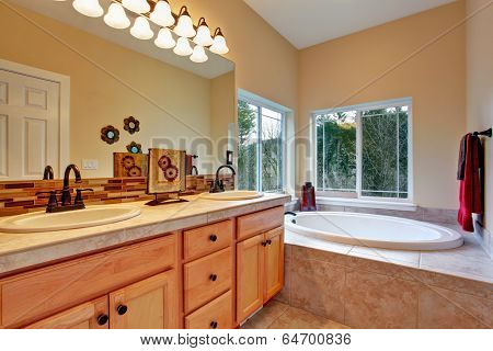 Bathroom With Whirlpool And Window View