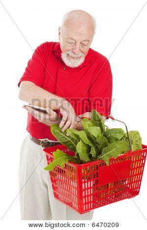 Senior Shopper Checks Basket