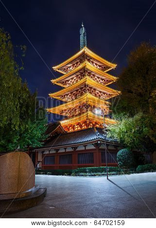 Five-storied Pagoda at Sensoji (Asakusa Kannon) Temple