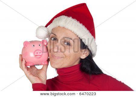 Beautiful Girl In Christmas Loving Moneybox