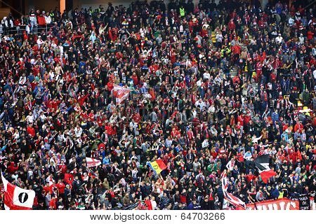 Crowd Of Football Fans In A Stadium