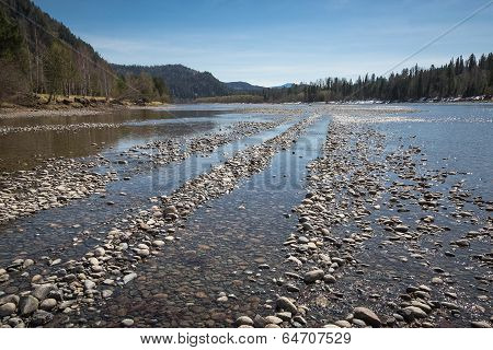 Rocks On The Shore Of A Mountain River, The Shallow Of The River