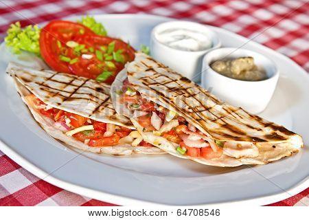 Barbecue Chicken And Cheddar Quesadillas