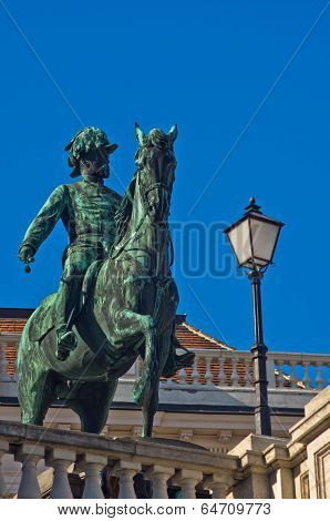 Statue of emperor Franz Joseph of Austria on a horse at downtown of Vienna