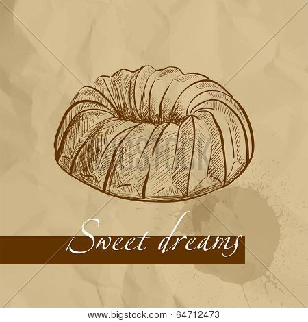 Sweet cake on brown background