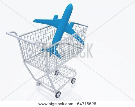 Aircraft in shopping trolly