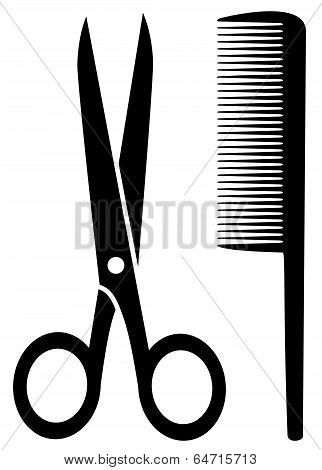 isolated Comb And Scissors
