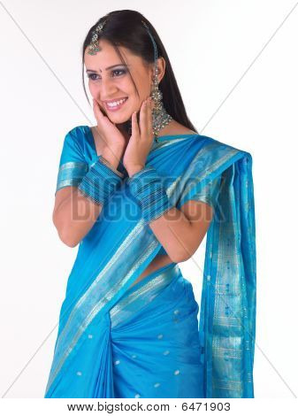 Girl in blue silk sari