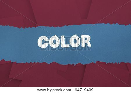 The word color against digitally generated wine paper strewn