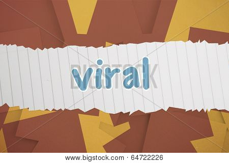 The word viral against brown paper strewn over orange