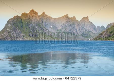 Scenic Town Of Reine On Lofoten Islands In Norway